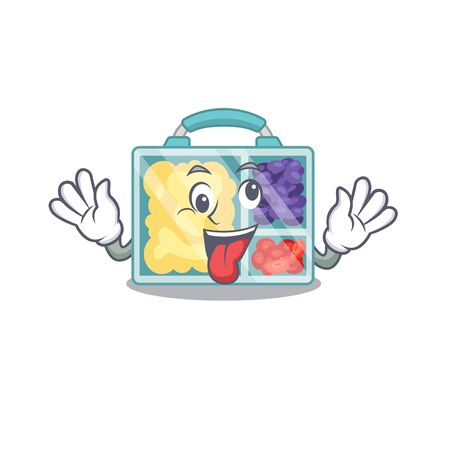 happy lunch box above character table bring gift.Vector illustration