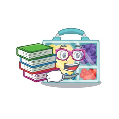 happy lunch box above character student bring book table.Vector illustration
