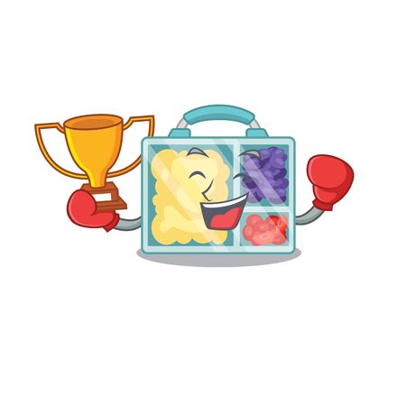 happy lunch box above character table boxing winner.Vector illustration Imagens - 133346965