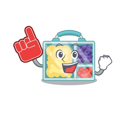 happy lunch box above foam finger character table.Vector illustration Stock Illustratie
