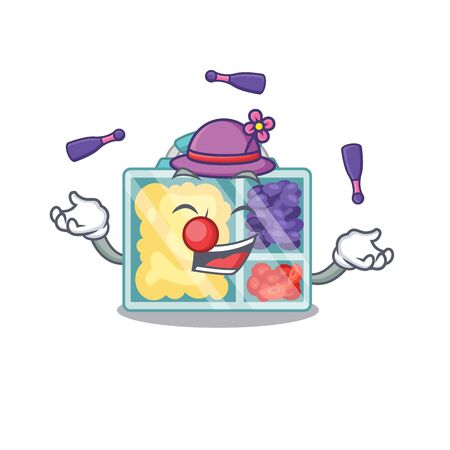happy juggling lunch box above character table.Vector illustration