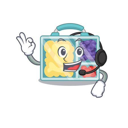 with headphone happy lunch box above character table.Vector illustration Imagens - 133346970