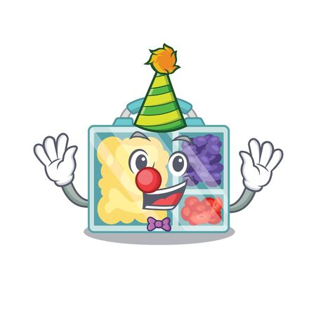 happy lunch box above character table clown.Vector illustration