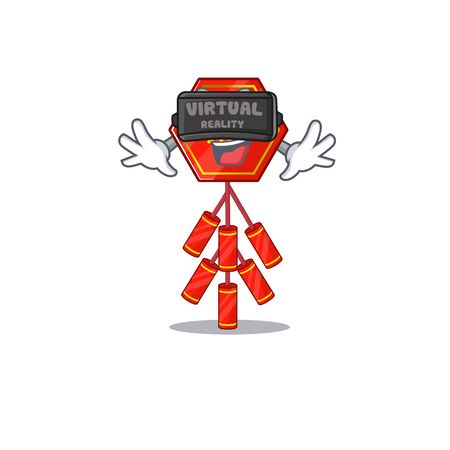 Cute chinese firecracker virtual reality character the smiley vector illustration Illustration
