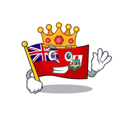 vector flag bermuda cartoon on king pole. vector illustration
