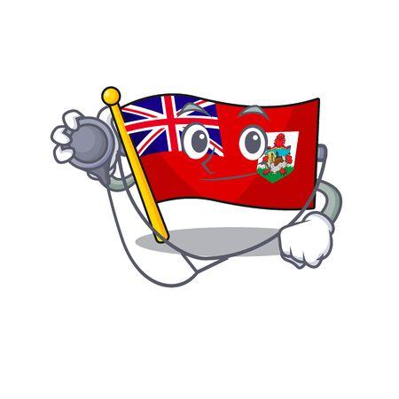 doctor flag bermuda cartoon in character shape vector illustration