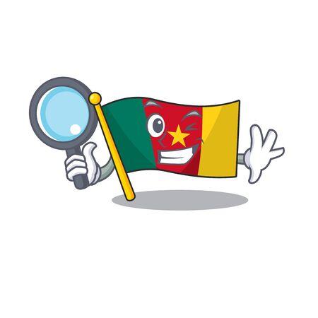 detective cartoon smiling flag cameroon on character vector illustration Çizim