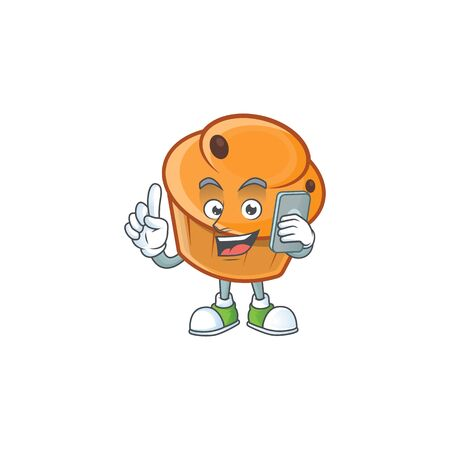 Pastry brioche mascot with holding phone cartoon character vector illustration  イラスト・ベクター素材
