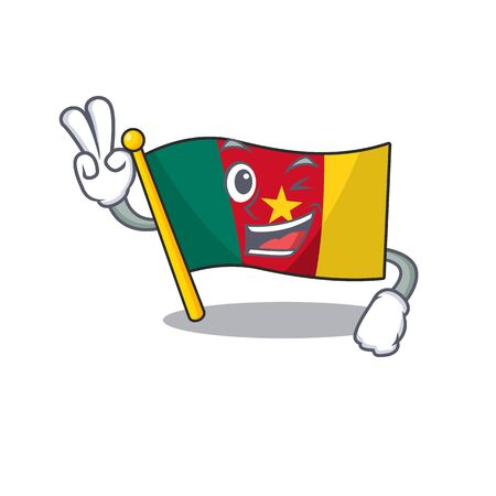 cartoon smiling flag cameroon on character two finger vector illustration