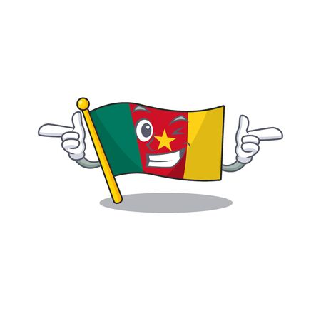 cartoon smiling flag wink cameroon on character vector illustration