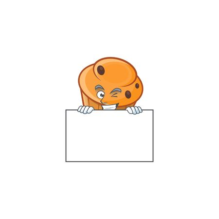 Pastry brioche mascot with squinting with board cartoon character vector illustration