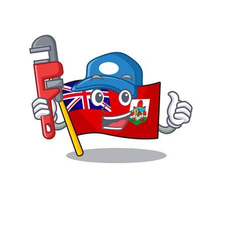 plumber vector flag bermuda cartoon on pole. vector illustration