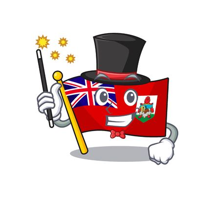 vector flag bermuda magician cartoon on pole. vector illustration
