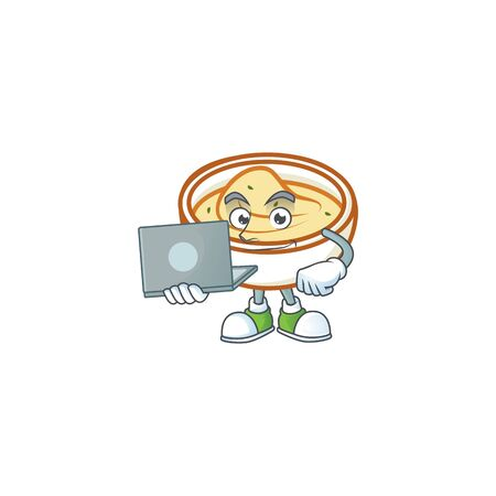 Mashed potatoes cartoon character with mascot with bring laptop. Vector illustration