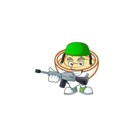 Mashed potatoes cartoon character with mascot army. Vector illustration