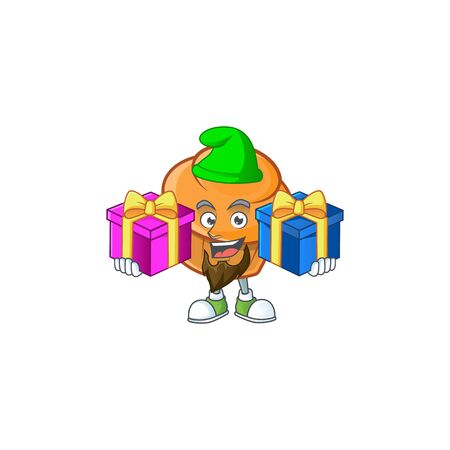Brioche mascot with bring two gifts on white background