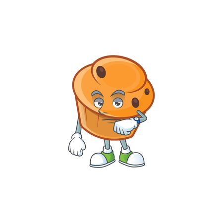 Brioche mascot with waiting on white background  イラスト・ベクター素材