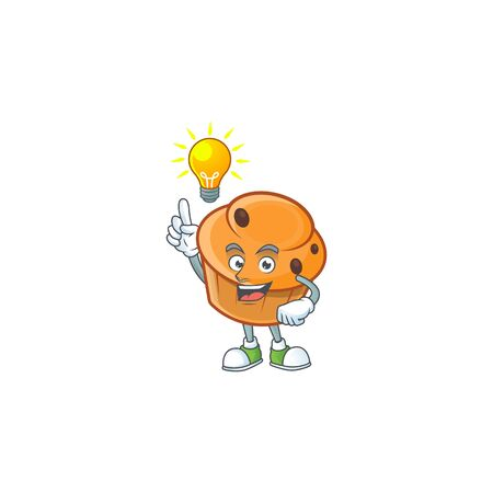 Brioche mascot with have an idea on white background