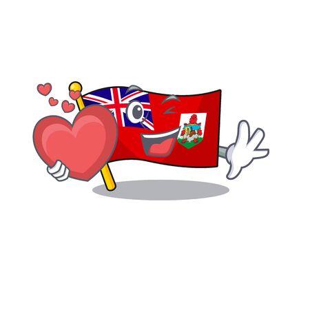holding heart flag bermuda isolated cartoon the mascot vector illustration