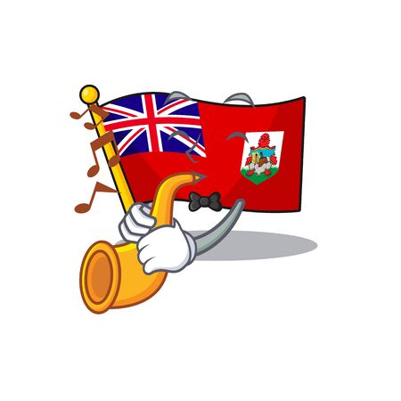 flag bermuda with trumpet isolated cartoon the mascot vector illustration 일러스트