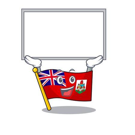 flag bermuda cartoon in character shape up board vector illustration