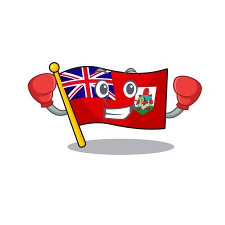 flag bermuda cartoon in character boxing shape vector illustration