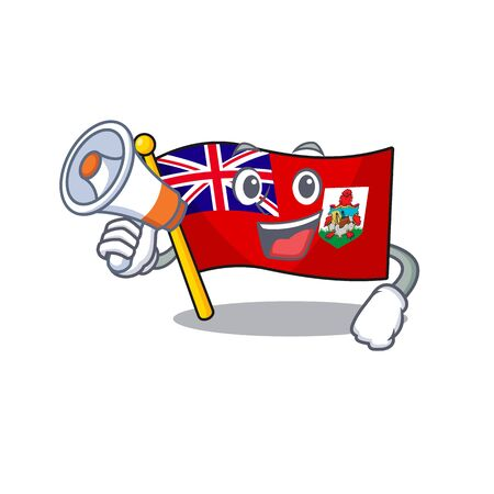 flag bermuda cartoon in character shape with holding megaphone vector illustration