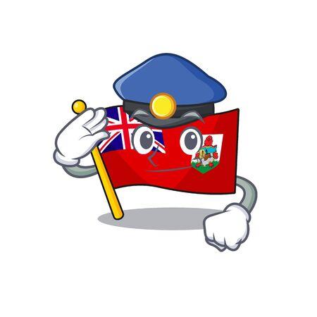 flag bermuda cartoon in police character shape vector illustration