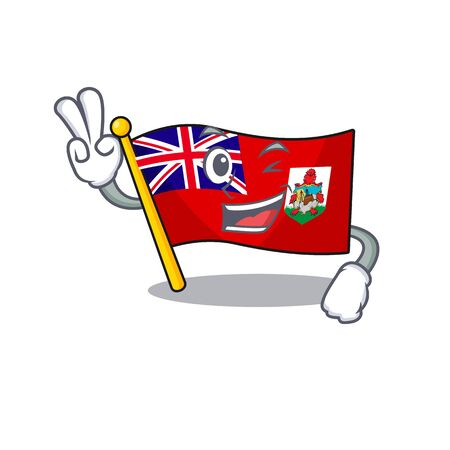 illustration flag bermuda on the two finger mascot. illustration vector