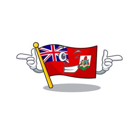 illustration flag bermuda on the mascot wink . illustration vector