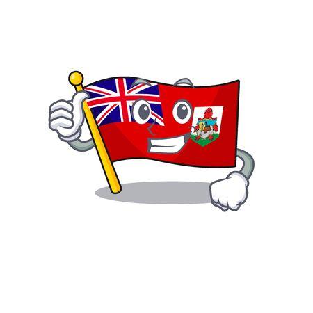 illustration flag bermuda thumbs up on the mascot. illustration vector Çizim