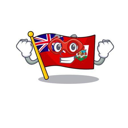 super hero illustration flag bermuda on the mascot. illustration vector