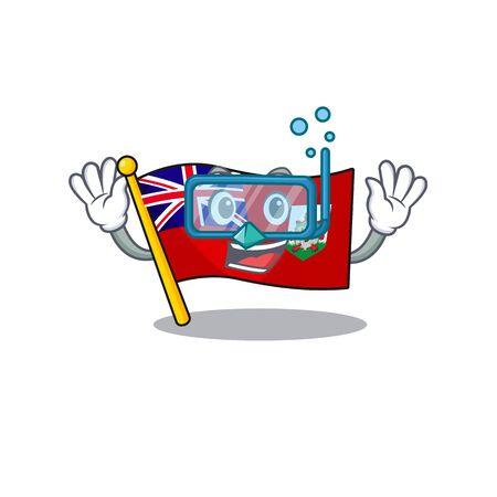 illustration flag bermuda on the mascot diving . illustration vector