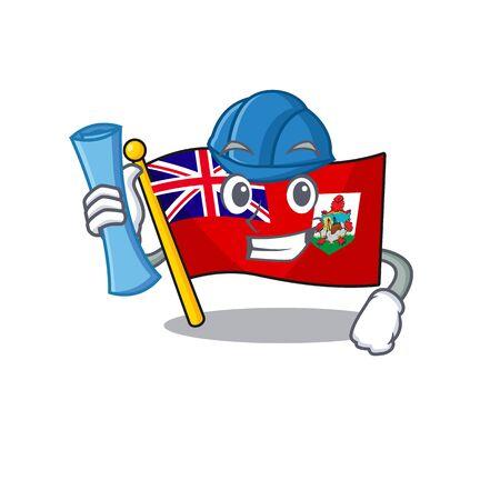 architect illustration flag bermuda on the mascot. illustration vector Çizim