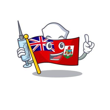 illustration flag bermuda nurse on the mascot. illustration vector
