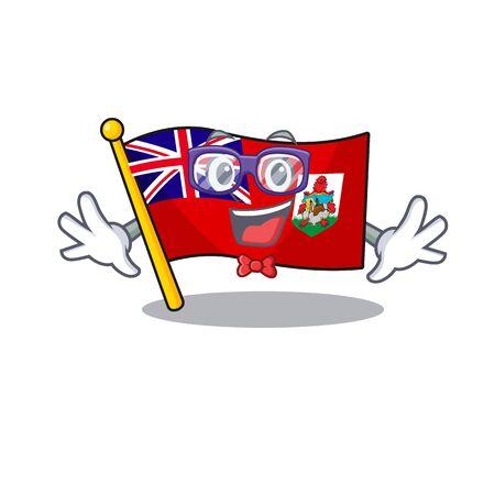 illustration flag bermuda on the mascot. illustration vector geek