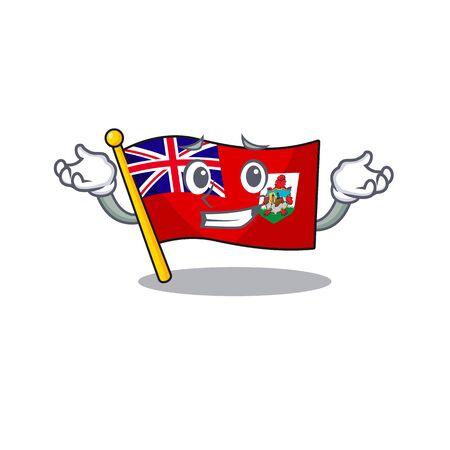 grinning illustration flag bermuda on the mascot. illustration vector