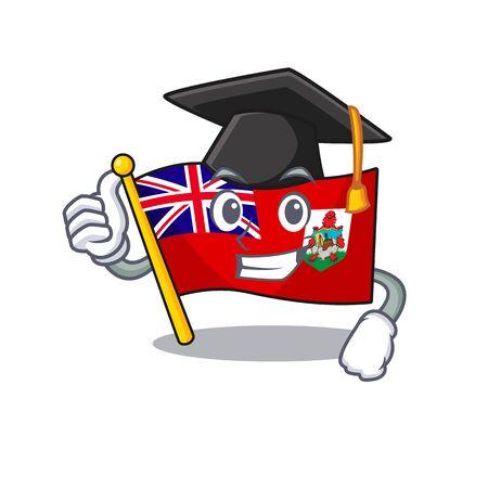 illustration flag bermuda on the mascot. illustration vector graduation hat