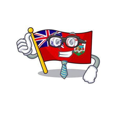 businessman illustration flag bermuda on the mascot. illustration vector
