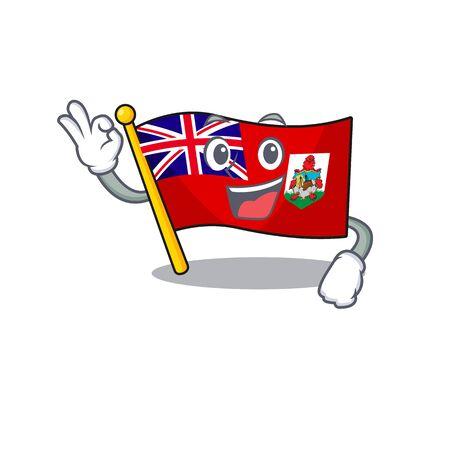 illustration flag bermuda on the okay mascot. illustration vector