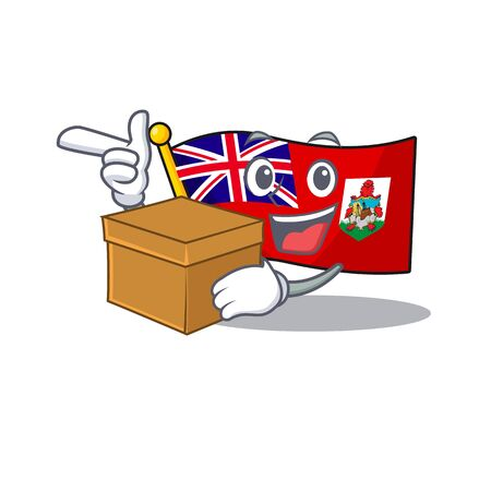 illustration flag bermuda on the with bring box mascot. illustration vector