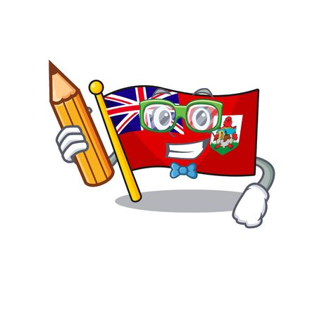 illustration flag bermuda on the mascot student holding pencil. illustration vector