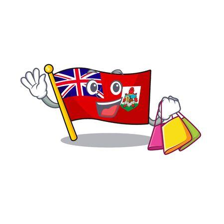illustration flag bermuda on the shopping mascot. illustration vector