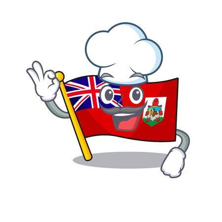 illustration flag bermuda on the mascot chef . illustration vector