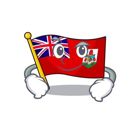illustration flag bermuda on the smirking mascot. illustration vector Çizim