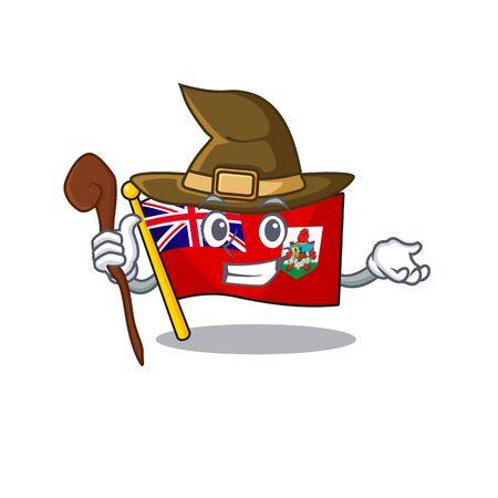 flag bermuda isolated witch cartoon the mascot vector illustration Illustration
