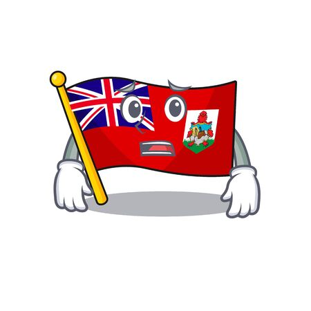 flag bermuda isolated cartoon afraid the mascot vector illustration