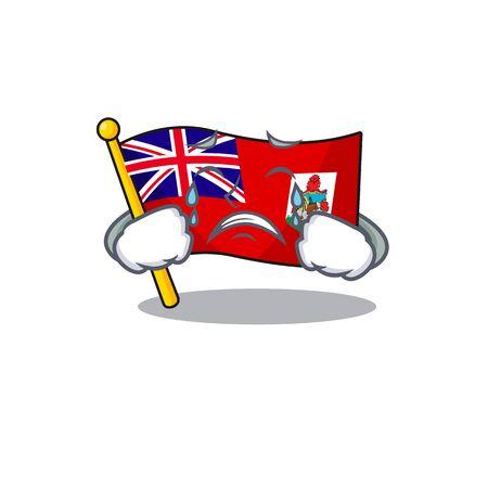 flag bermuda isolated cartoon the mascot vector illustration crying