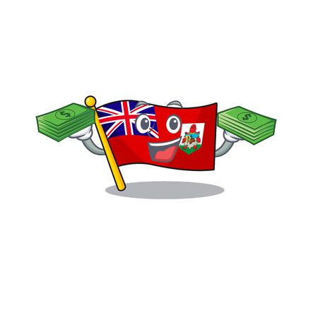 holding money flag bermuda isolated cartoon the mascot vector illustration