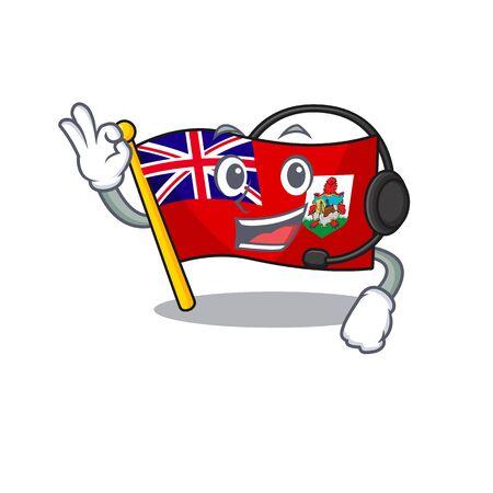 vector flag bermuda cartoon on pole with headphone. vector illustration Фото со стока - 133387717